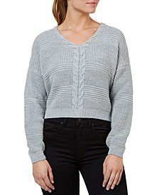 Cropped Lace-Up Sweater