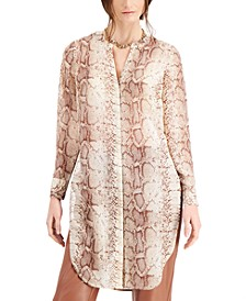 Snakeskin-Print Tunic Blouse, Created for Macy's