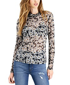 Mock-Neck Floral-Print Top