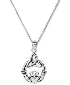 "Claddagh 18"" Pendant Necklace in Sterling Silver, Created for Macy's"