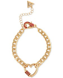 Rose Gold-Tone Red Crystal Heart Link Bracelet