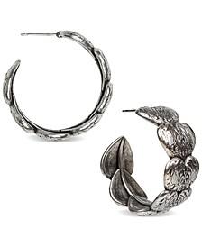 "Silver-Tone Medium Stacked Tooled Heart Open Hoop Earrings, 1.25"""