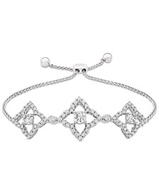 Diamond Clover Bolo Bracelet (1/2 ct. t.w.) in Sterling Silver, Created for Macy's