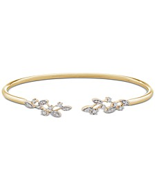 Diamond Leaves Flex Cuff Bangle Bracelet (1/10 ct. t.w.) in Sterling Silver or Gold-Plated Sterling Silver, Created for Macy's