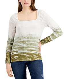 Tie-Dyed Square-Neck Ribbed Knit Top