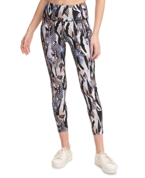 Calvin Klein Performance Printed High-waist Leggings In Animal Mix Spray