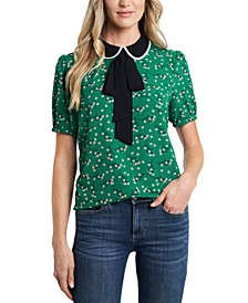 Collared Printed Bow Blouse