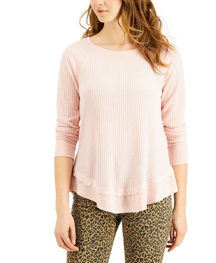 Love, Fire - Juniors' Waffle-Knit Top