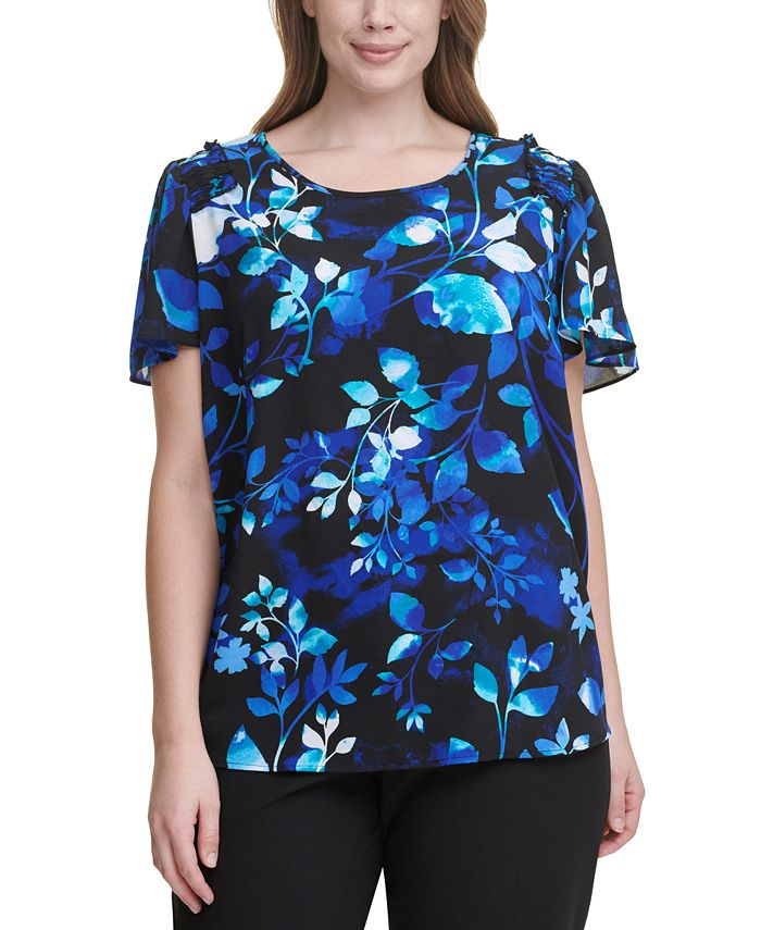 Calvin Klein - Plus Size Floral-Print Flutter-Sleeve Top