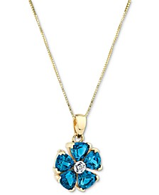 "Blue Topaz (3 ct. t.w.) & Diamond Accent Flower 18"" Pendant Necklace in 14k Gold"