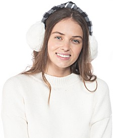 INC Buffalo Check Top Knot Faux Fur Earmuffs, Created for Macy's