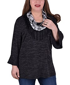 Women's Plus Size Bell Sleeve Tunic with Scarf