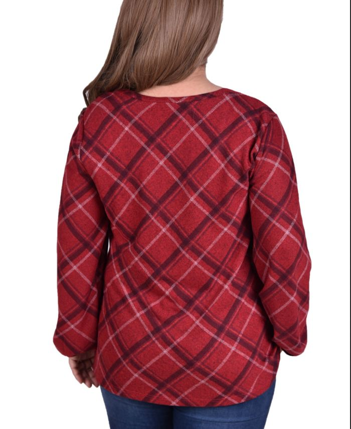 NY Collection Women's Plus Size Plaid Pullover Top with Elastic Cuff & Reviews - Tops - Plus Sizes - Macy's