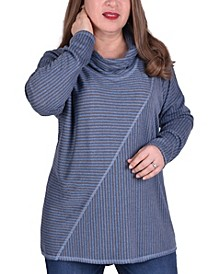 Women's Plus Size Long Sleeve Mini Stripe Oversided Top