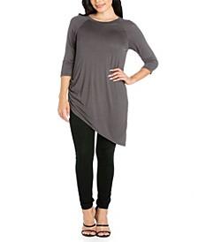 Women's Plus Asymmetrical Three Quarter Sleeve Tunic Top