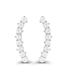Cubic Zirconia Pave Curved Ear Climbers in Sterling Silver
