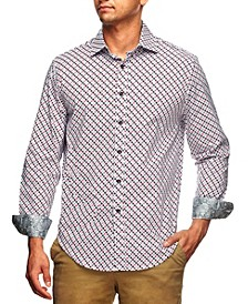Men's Slim Fit Medallion Print Long Sleeve Shirt and a Free Face Mask
