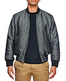 Men's Slim Fit Texture Print Bomber Jacket and a Free Face Mask