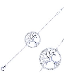 Cubic Zirconia Tree Of Life Circle Bracelet in Sterling Silver