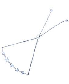 Cubic Zirconia Multi Cut Adjustable Bolo Bracelet in Sterling Silver