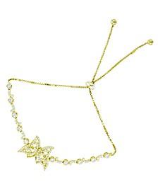 Cubic Zirconia Butterfly Adjustable Bolo Bracelet in 14K Gold Over Sterling Silver