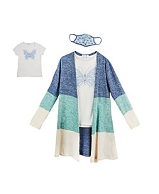 Big Girls Colorblock Duster, 3 Piece Set