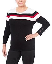 Women's Petite Striped Grommet Cuff Sweater