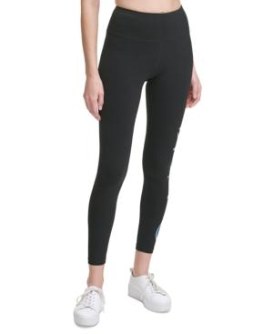 Calvin Klein Performance Jumbo-logo High-waist 7/8 Length Leggings In Black
