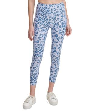Calvin Klein Performance Printed High-waist Leggings In Jaguar Beau Blue