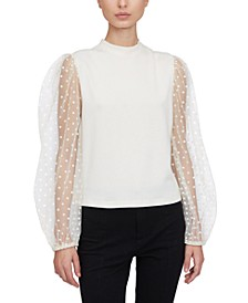 Sheer-Sleeve Mock-Neck Sweater