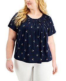 Plus Size Printed Pleated-Neck Top, Created for Macy's