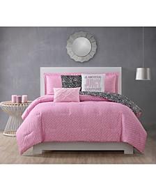 Haute Mess Reversible Comforter Set, 6 Piece, Queen