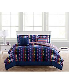 Rainbow Reversible Comforter Set, 6 Piece, Full/Queen