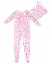Baby Girls Llama Print Coverall with Blankie Baby