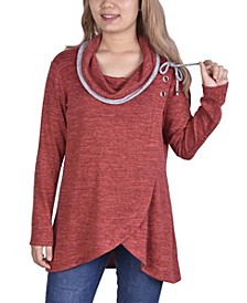 Women's Long Sleeve Crossover Front Cowl Neck