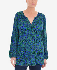 Live Unlimited Plus Size Printed Ditsy Jersey Shirt