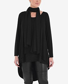 Plus Size Overlayer Tunic with Tie Detail