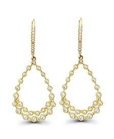 Cubic Zirconia Bezel 14K Gold Diamond Cut Pear Shaped Earrings