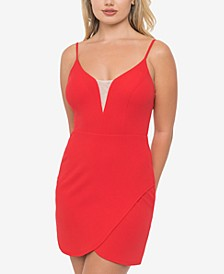 Juniors' Split Sweetheart-Neck Dress