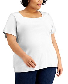 Plus Size Cotton Square-Neck Top, Created for Macy's