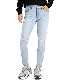 Juniors' Distressed Mid-Rise Skinny Ankle Jeans