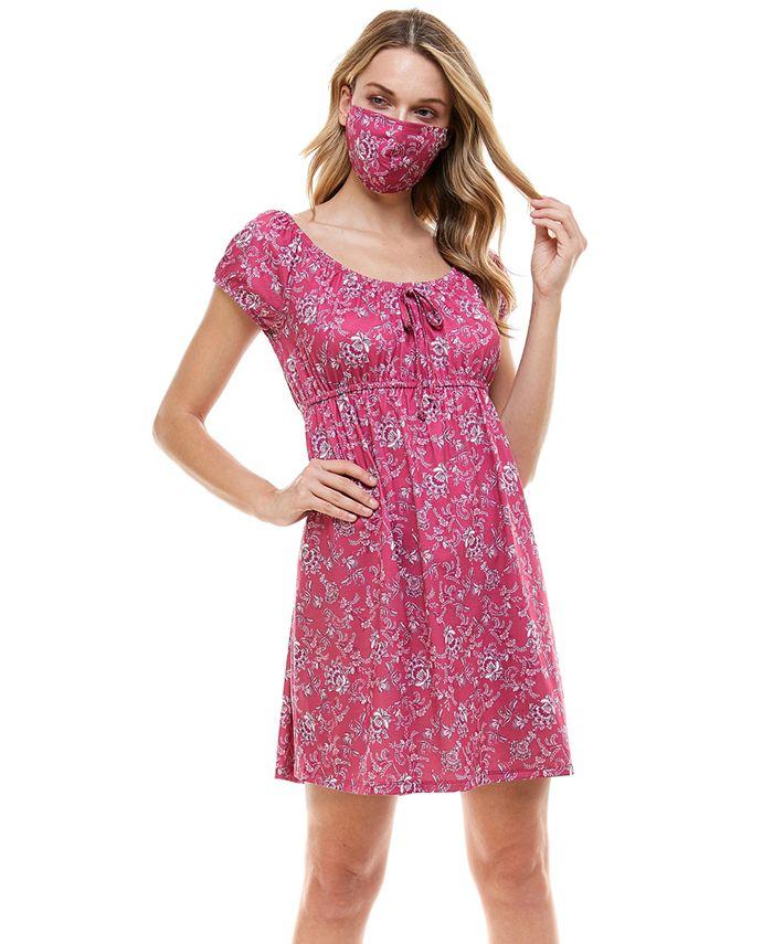 Be Bop - Juniors' Emma Printed Fit & Flare Dress & Face Mask