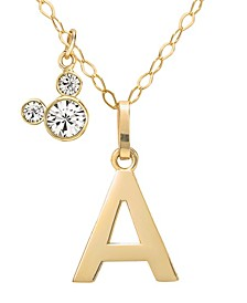 "Mickey Mouse Initial Pendant 18"" Necklace with Cubic Zirconia in 14k Yellow Gold"