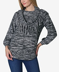 Women's Long Sleeve Space Dye Rounded Bottom Sweater with Attached Scarf