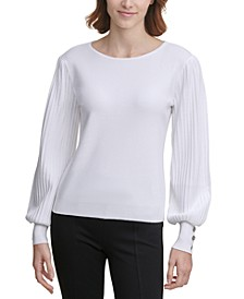 Button-Sleeve Sweater