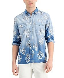 INC Men's Regular-Fit Ombré Floral-Print Denim Shirt, Created for Macy's