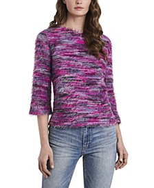 Women's Three Quarter Sleeve Eyelash Knit Top