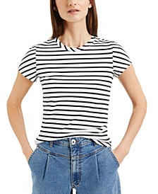 INC Petite Cotton Stripe-Print T-Shirt, Created for Macy's