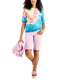 Tie-Dyed Lightweight Short-Sleeve Sweatshirt, Created for Macy's