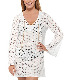 Poplar Skies Cotton Bell Sleeve Tunic Cover-Up